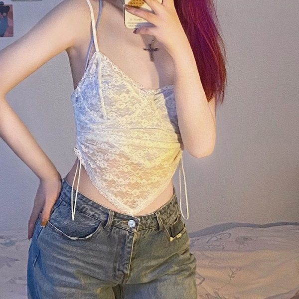Thin Sheer Cropped Lace Top - My Sweet Outfit - eGirl Outfits - Soft Girl Clothes Aesthetic - Grunge Korean Artsy - Cosplay - Anime - Fashion itGirl - Rap Accessories (2)