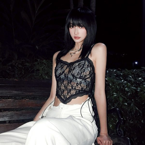 Thin Sheer Cropped Lace Top - My Sweet Outfit - eGirl Outfits - Soft Girl Clothes Aesthetic - Grunge Korean Artsy - Cosplay - Anime - Fashion itGirl - Rap Accessories (3)