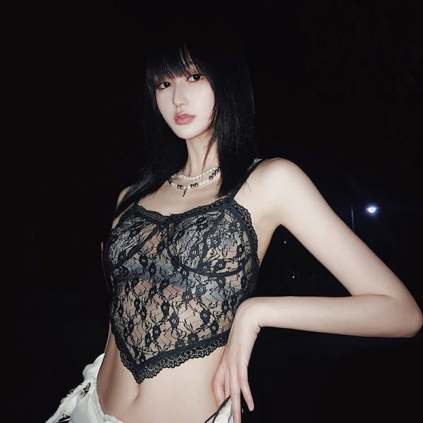 Thin Sheer Cropped Lace Top - My Sweet Outfit - eGirl Outfits - Soft Girl Clothes Aesthetic - Grunge Korean Artsy - Cosplay - Anime - Fashion itGirl - Rap Accessories (4)