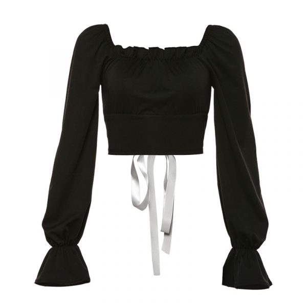 Tie Back Soft Girl Vintage Top - My Sweet Outfit - eGirl Outfits - Soft Girl Clothes Aesthetic - Grunge Korean Artsy - Cosplay - Anime - Fashion itGirl - Rap Accessories (2)