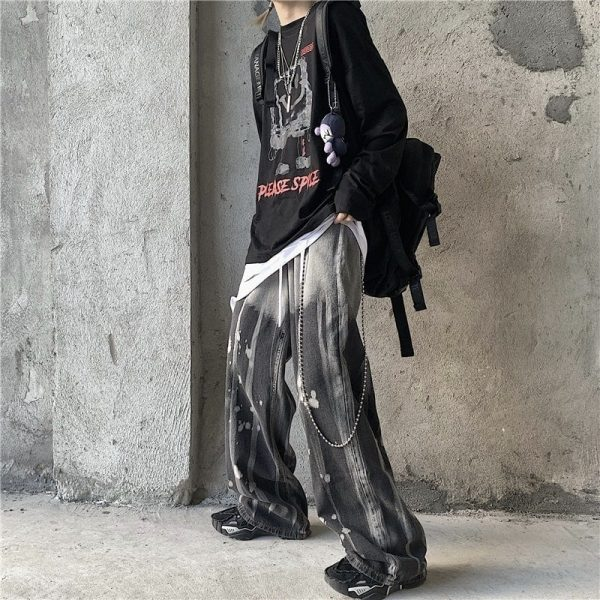 Tie-Dye Korean Style Wide Leg Jeans - My Sweet Outfit - eGirl Outfits - Soft Girl Clothes Aesthetic - Grunge Korean Artsy - Cosplay - Anime - Fashion itGirl - Rap Accessories (1)