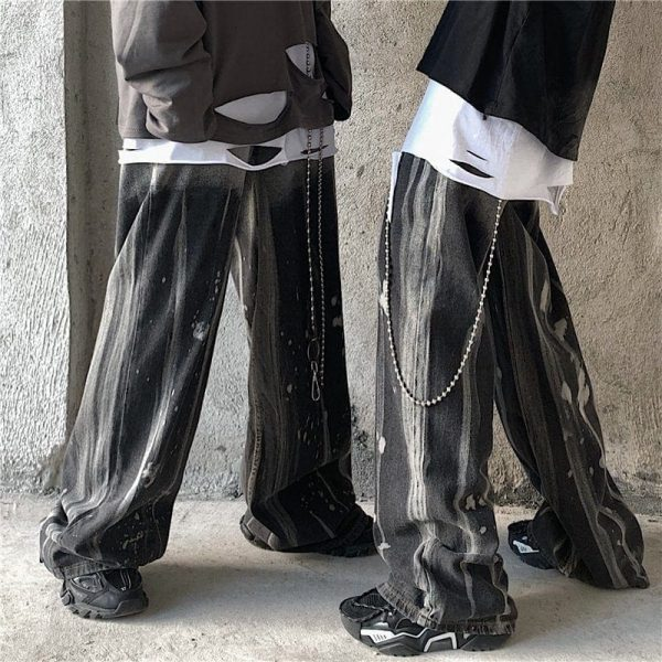 Tie-Dye Korean Style Wide Leg Jeans - My Sweet Outfit - eGirl Outfits - Soft Girl Clothes Aesthetic - Grunge Korean Artsy - Cosplay - Anime - Fashion itGirl - Rap Accessories (2)