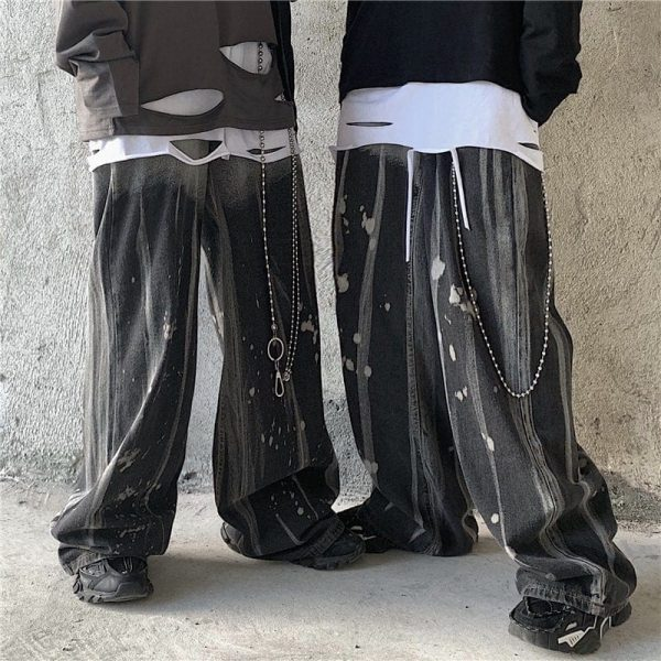 Tie-Dye Korean Style Wide Leg Jeans - My Sweet Outfit - eGirl Outfits - Soft Girl Clothes Aesthetic - Grunge Korean Artsy - Cosplay - Anime - Fashion itGirl - Rap Accessories (3)