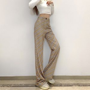 Vintage High Rise ItGirl Check Trousers - My Sweet Outfit - eGirl Outfits - Soft Girl Clothes Aesthetic - Grunge Korean Artsy - Cosplay - Anime - Fashion itGirl - Rap Accessories (1)