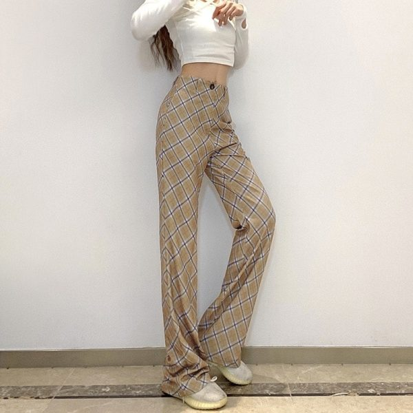 Vintage High Rise ItGirl Check Trousers - My Sweet Outfit - eGirl Outfits - Soft Girl Clothes Aesthetic - Grunge Korean Artsy - Cosplay - Anime - Fashion itGirl - Rap Accessories 1