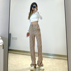 Vintage High Rise ItGirl Check Trousers - My Sweet Outfit - eGirl Outfits - Soft Girl Clothes Aesthetic - Grunge Korean Artsy - Cosplay - Anime - Fashion itGirl - Rap Accessories (3)