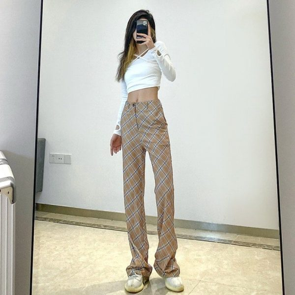 Vintage High Rise ItGirl Check Trousers - My Sweet Outfit - eGirl Outfits - Soft Girl Clothes Aesthetic - Grunge Korean Artsy - Cosplay - Anime - Fashion itGirl - Rap Accessories 3