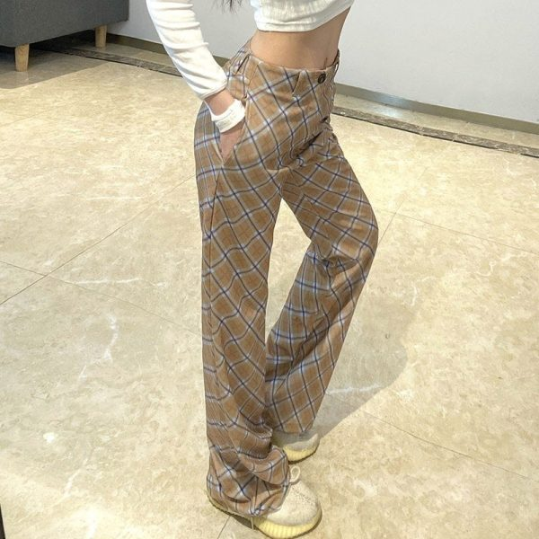 Vintage High Rise ItGirl Check Trousers - My Sweet Outfit - eGirl Outfits - Soft Girl Clothes Aesthetic - Grunge Korean Artsy - Cosplay - Anime - Fashion itGirl - Rap Accessories 4