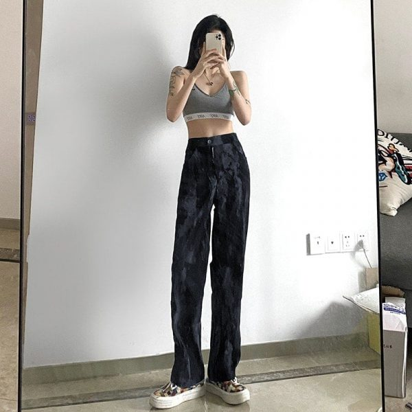 Vintage Long Tie-Dye Print Casual Pants - My Sweet Outfit - eGirl Outfits - Soft Girl Clothes Aesthetic - Grunge Korean Artsy - Cosplay - Anime - Fashion itGirl - Rap Accessories 4