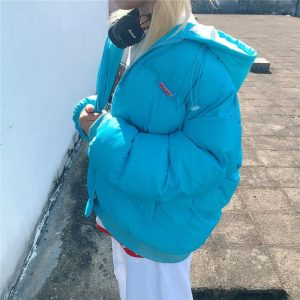 Warm Padded Jacket With Lining And Hood - My Sweet Outfit - EGirl Outfits - Soft Girl Clothes Aesthetic - Grunge Korean Fashion Hip Emo Rap (3)