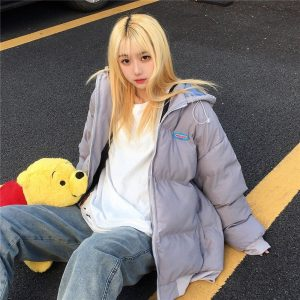 Warm Padded Jacket With Lining And Hood - My Sweet Outfit - EGirl Outfits - Soft Girl Clothes Aesthetic - Grunge Korean Fashion Hip Emo Rap (5)