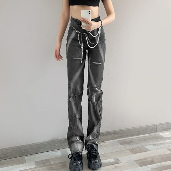 Washed Ripped Tie-Dye Retro Jeans - My Sweet Outfit - eGirl Outfits - Soft Girl Clothes Aesthetic - Grunge Korean Artsy - Cosplay - Anime - Fashion itGirl - Rap Accessories (2)