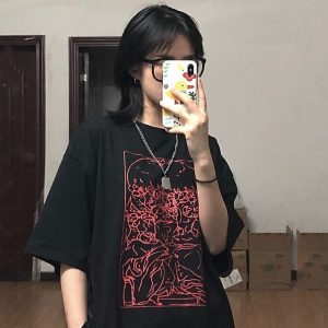 Weird Abstract Print Round Neck T-Shirt - My Sweet Outfit - EGirl Outfits - Soft Girl Clothes Aesthetic - Grunge Korean Fashion Hip Emo Rap (1)