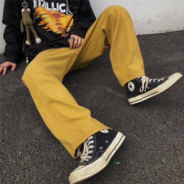 Wide Indie Kid Yellow Jeans - My Sweet Outfit - eGirl Outfits - Soft Girl Clothes Aesthetic - Grunge Korean Artsy - Cosplay - Anime - Fashion itGirl - Rap Accessories 1