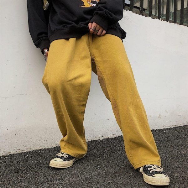 Wide Indie Kid Yellow Jeans - My Sweet Outfit - eGirl Outfits - Soft Girl Clothes Aesthetic - Grunge Korean Artsy - Cosplay - Anime - Fashion itGirl - Rap Accessories 2