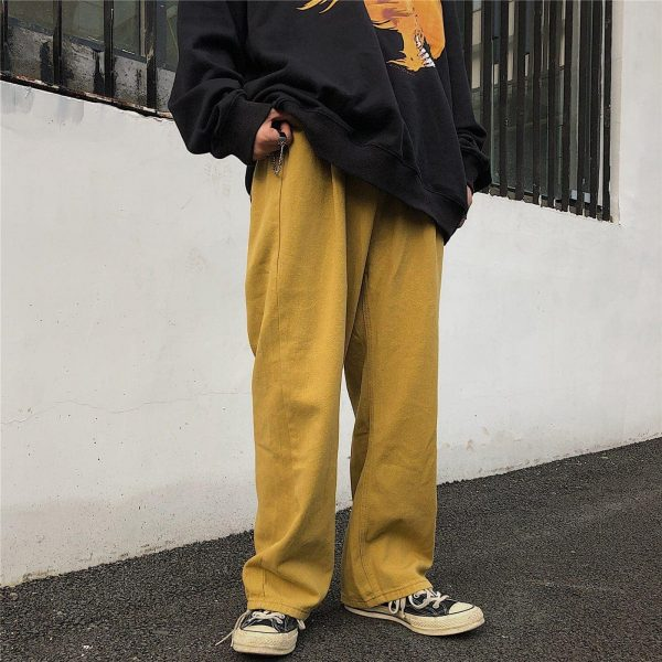 Wide Indie Kid Yellow Jeans - My Sweet Outfit - eGirl Outfits - Soft Girl Clothes Aesthetic - Grunge Korean Artsy - Cosplay - Anime - Fashion itGirl - Rap Accessories 3