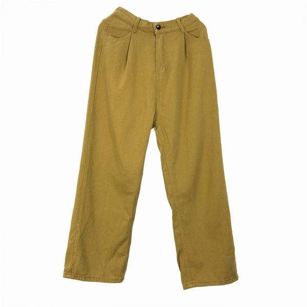 Wide Indie Kid Yellow Jeans - My Sweet Outfit - eGirl Outfits - Soft Girl Clothes Aesthetic - Grunge Korean Artsy - Cosplay - Anime - Fashion itGirl - Rap Accessories 4
