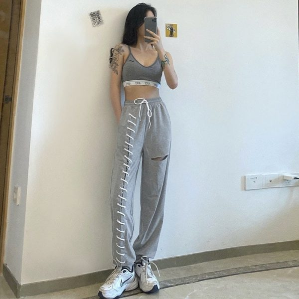 Y2k Joggers With Slits And Lacing - My Sweet Outfit - eGirl Outfits - Soft Girl Clothes Aesthetic - Grunge Korean Artsy - Cosplay - Anime - Fashion itGirl - Rap Accessories 2