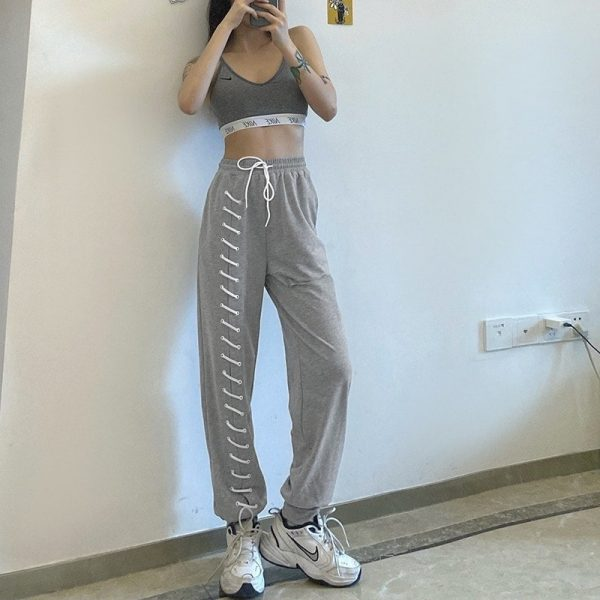 Y2k Joggers With Slits And Lacing - My Sweet Outfit - eGirl Outfits - Soft Girl Clothes Aesthetic - Grunge Korean Artsy - Cosplay - Anime - Fashion itGirl - Rap Accessories 3