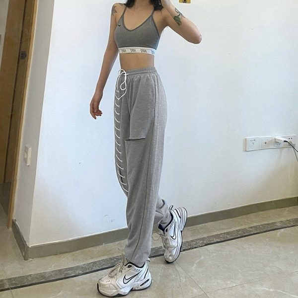 Y2k Joggers With Slits And Lacing - My Sweet Outfit - eGirl Outfits - Soft Girl Clothes Aesthetic - Grunge Korean Artsy - Cosplay - Anime - Fashion itGirl - Rap Accessories 4