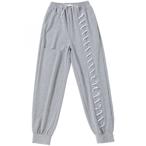 Y2k Joggers With Slits And Lacing - My Sweet Outfit - eGirl Outfits - Soft Girl Clothes Aesthetic - Grunge Korean Artsy - Cosplay - Anime - Fashion itGirl - Rap Accessories 5