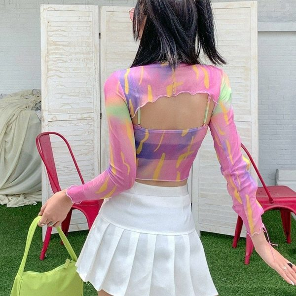 Y2k Multi-colored Jagged Blouse - My Sweet Outfit - eGirl Outfits - Soft Girl Clothes Aesthetic - Grunge Korean Artsy - Cosplay - Anime - Fashion itGirl - Rap Accessories 1