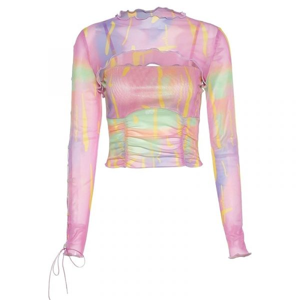 Y2k Multi-colored Jagged Blouse - My Sweet Outfit - eGirl Outfits - Soft Girl Clothes Aesthetic - Grunge Korean Artsy - Cosplay - Anime - Fashion itGirl - Rap Accessories 4