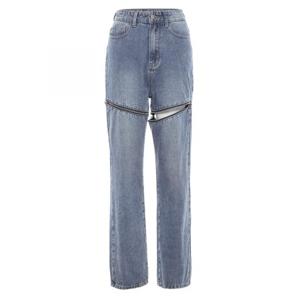 Сlassic Wide Leg Zip Jeans - My Sweet Outfit - eGirl Outfits - Soft Girl Clothes Aesthetic - Grunge Korean Artsy - Cosplay - Anime - Fashion itGirl - Rap Accessories (5)