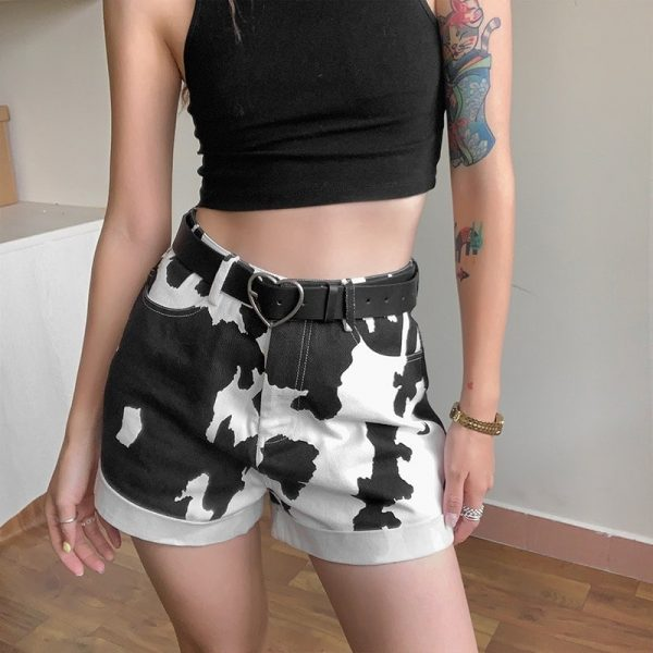 Сow Print High-Waisted Shorts - My Sweet Outfit - eGirl - SoftGirl Clothes Aesthetic - Goth - Grunge - Vintage Black - Y2k - Fashion - itGirl 2