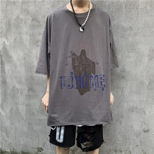 Art Hoe Justice Print Loose T-shirt - My Sweet Outfit - eGirl - SoftGirl Clothes Aesthetic - Goth - Grunge - Vintage Black - Anime - Fashion - itGirl 1