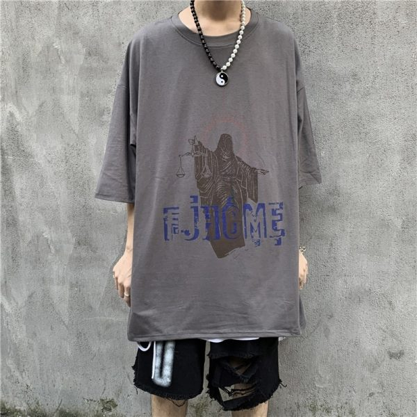 Art Hoe Justice Print Loose T-shirt - My Sweet Outfit - eGirl - SoftGirl Clothes Aesthetic - Goth - Grunge - Vintage Black - Anime - Fashion - itGirl (1)