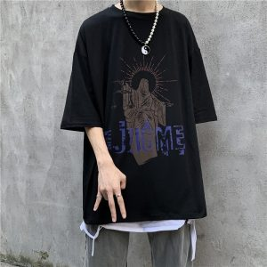 Art Hoe Justice Print Loose T-shirt - My Sweet Outfit - eGirl - SoftGirl Clothes Aesthetic - Goth - Grunge - Vintage Black - Anime - Fashion - itGirl 3
