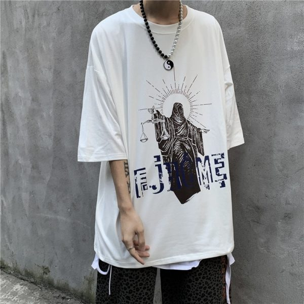 Art Hoe Justice Print Loose T-shirt - My Sweet Outfit - eGirl - SoftGirl Clothes Aesthetic - Goth - Grunge - Vintage Black - Anime - Fashion - itGirl (4)