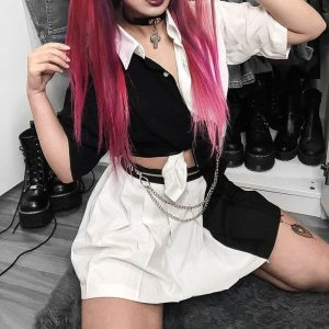 Black And White Cropped eGirl Shirt - My Sweet Outfit - eGirl Outfits - Soft Girl Clothes Aesthetic - Grunge Korean Artsy - Cosplay - Anime - Fashion itGirl - Rap Accessories (1)