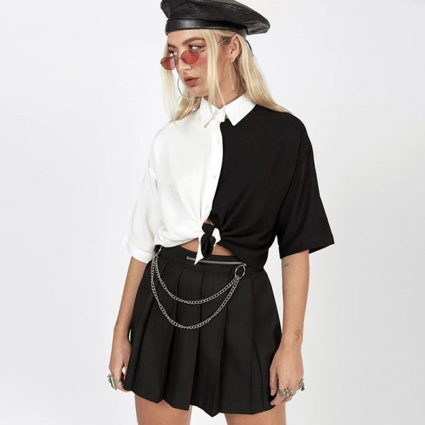 Black And White Cropped eGirl Shirt - My Sweet Outfit - eGirl Outfits - Soft Girl Clothes Aesthetic - Grunge Korean Artsy - Cosplay - Anime - Fashion itGirl - Rap Accessories 5