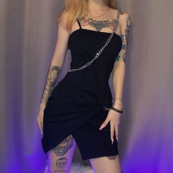 Black Dress With Thin Chain - My Sweet Outfit - eGirl - SoftGirl Clothes Aesthetic - Goth - Grunge - Vintage Black - Y2k - Fashion - itGirl (2)