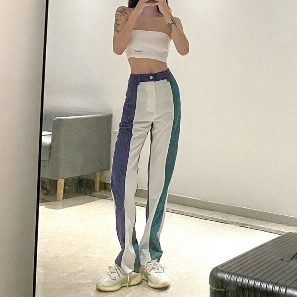 Corduroy Multicolor Y2k Pants - My Sweet Outfit - eGirl Outfits - Soft Girl Clothes Aesthetic - Grunge Korean Artsy - Cosplay - Anime - Fashion itGirl - Rap Accessories 4