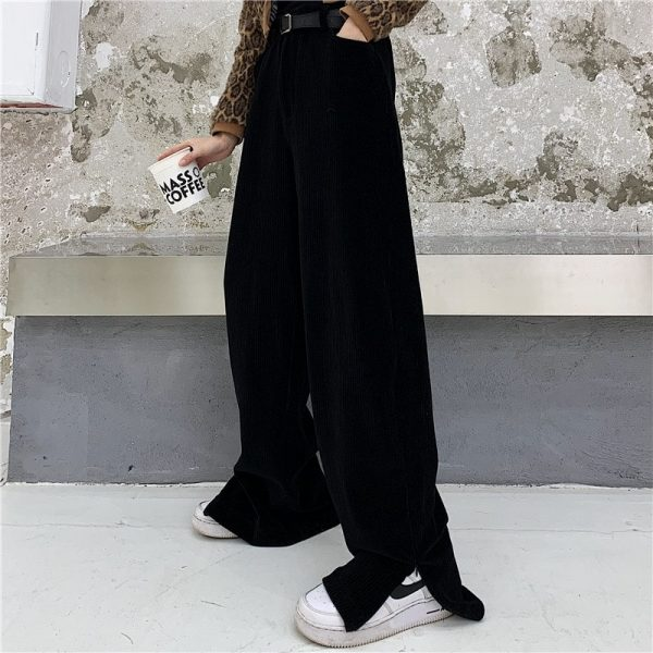 Corduroy Y2k Ankle-Fastened Pants - My Sweet Outfit - eGirl - SoftGirl Clothes Aesthetic - Goth - Grunge - Vintage Black - Anime - Fashion - itGirl (1)