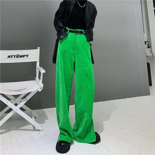 Corduroy Y2k Ankle-Fastened Pants - My Sweet Outfit - eGirl - SoftGirl Clothes Aesthetic - Goth - Grunge - Vintage Black - Anime - Fashion - itGirl (4)