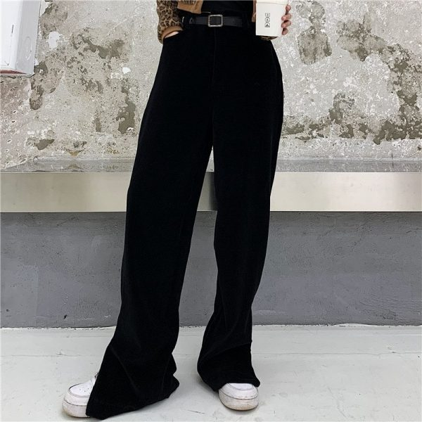 Corduroy Y2k Ankle-Fastened Pants - My Sweet Outfit - eGirl - SoftGirl Clothes Aesthetic - Goth - Grunge - Vintage Black - Anime - Fashion - itGirl (5)
