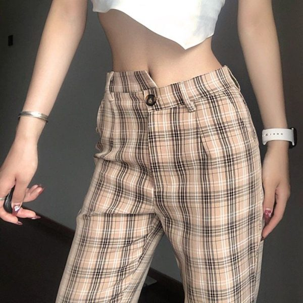 Flared Trousers In Check With Uneven Waist - My Sweet Outfit - eGirl - SoftGirl Clothes Aesthetic - Goth - Grunge - Vintage Black - Y2k - Fashion - itGirl 2