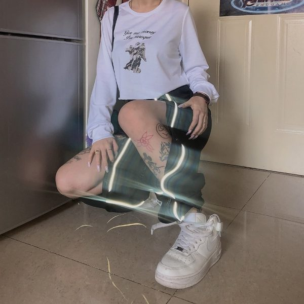 Holographic Pants With Knee Closures - My Sweet Outfit - eGirl - SoftGirl Clothes Aesthetic - Goth - Grunge - Vintage Black - Y2k - Fashion - itGirl (3)