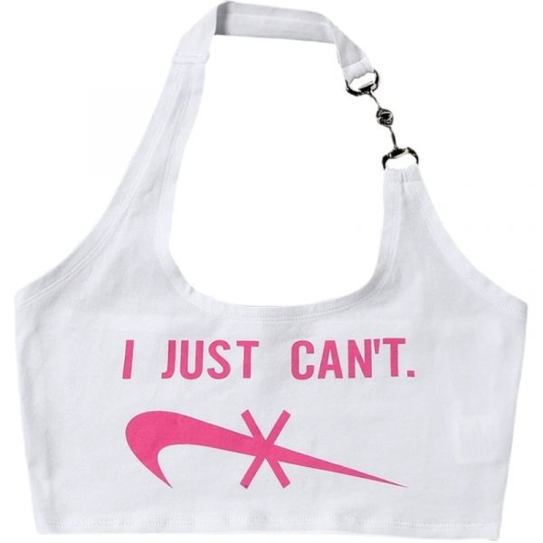 I Just Can`t Printing Slim Crop Top - My Sweet Outfit - eGirl - SoftGirl Clothes Aesthetic - Goth - Grunge - Vintage Black - Anime - Fashion - itGirl 2