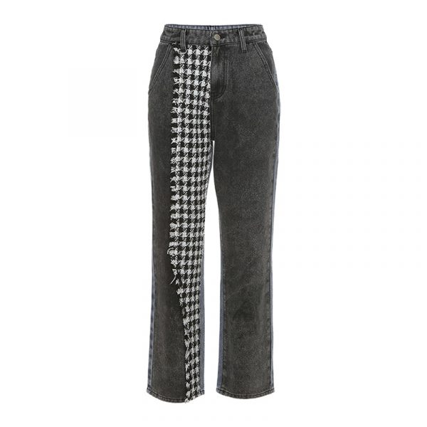 Irregular Checkerboard Straight Jeans - My Sweet Outfit - eGirl Outfits - Soft Girl Clothes Aesthetic - Grunge Korean Artsy - Cosplay - Anime - Fashion itGirl - Rap Accessories 4