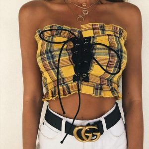 Plaid Off-Shoulder Lace-Up Top - My Sweet Outfit - eGirl - SoftGirl Clothes Aesthetic - Goth - Grunge - Vintage Black - Y2k - Fashion - itGirl (1)