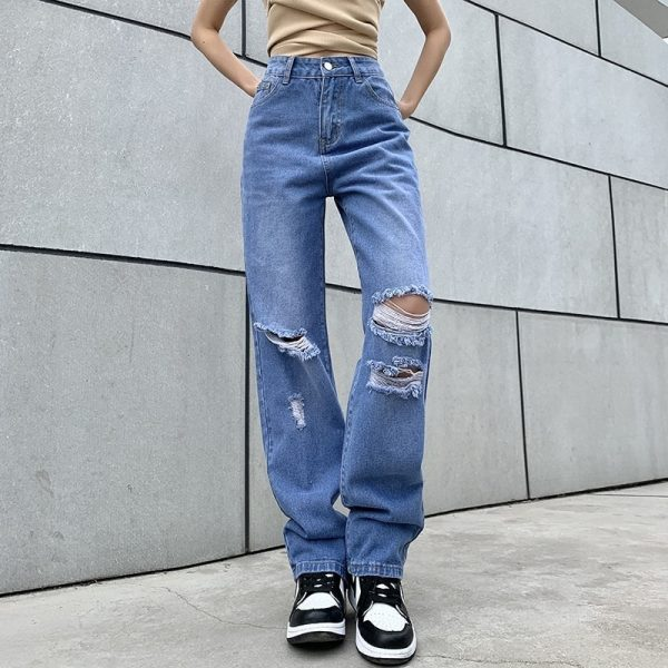 Retro Wide Leg Ripped Knees Jeans - My Sweet Outfit - eGirl - SoftGirl Clothes Aesthetic - Goth - Grunge - Vintage Black - Y2k - Fashion - itGirl 3