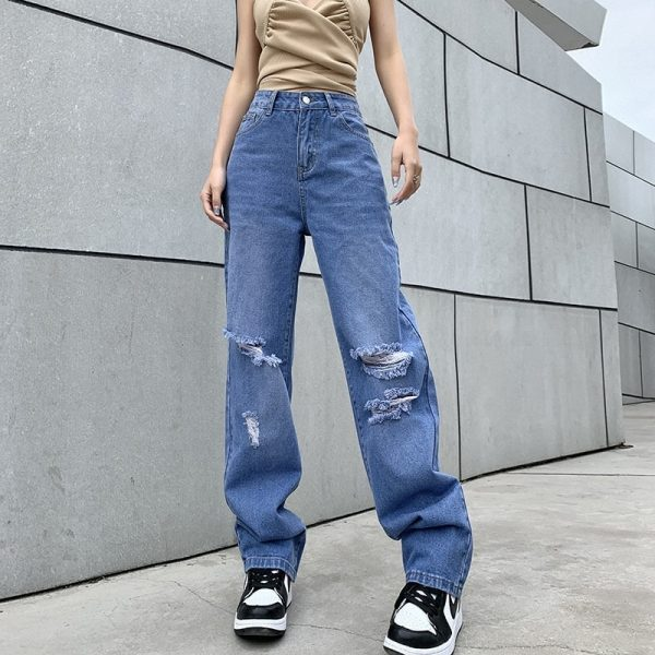 Retro Wide Leg Ripped Knees Jeans - My Sweet Outfit - eGirl - SoftGirl Clothes Aesthetic - Goth - Grunge - Vintage Black - Y2k - Fashion - itGirl 4
