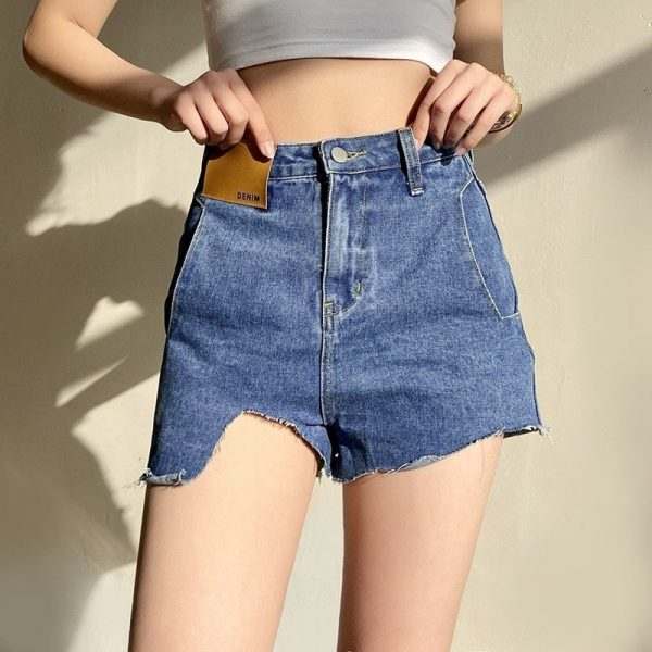 Ripped Denim Shorts With Ripped Pockets - My Sweet Outfit - eGirl - SoftGirl Clothes Aesthetic - Goth - Grunge - Vintage Black - Y2k - Fashion - itGirl (1)