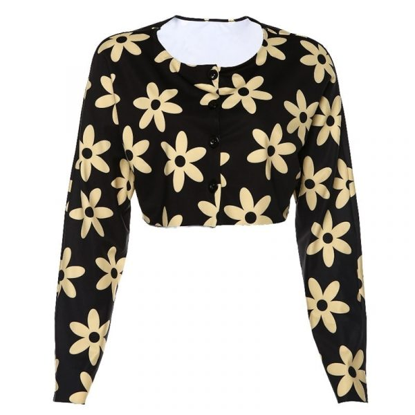 Romantic Flower Print Top With Buttons - My Sweet Outfit - eGirl - SoftGirl Clothes Aesthetic - Goth - Grunge - Vintage Black - Y2k - Fashion - itGirl 4