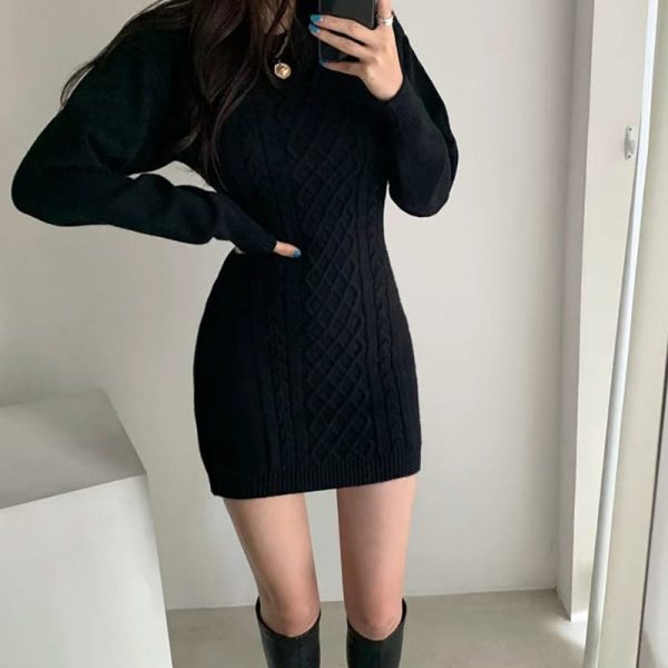 Short SoftGirl Knitted Dress - My Sweet Outfit - eGirl - SoftGirl Clothes Aesthetic - Goth - Grunge - Vintage Black - Y2k - Fashion - itGirl 1